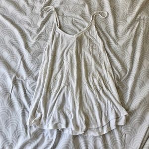 American Eagle Beaded White Lace Back Tank